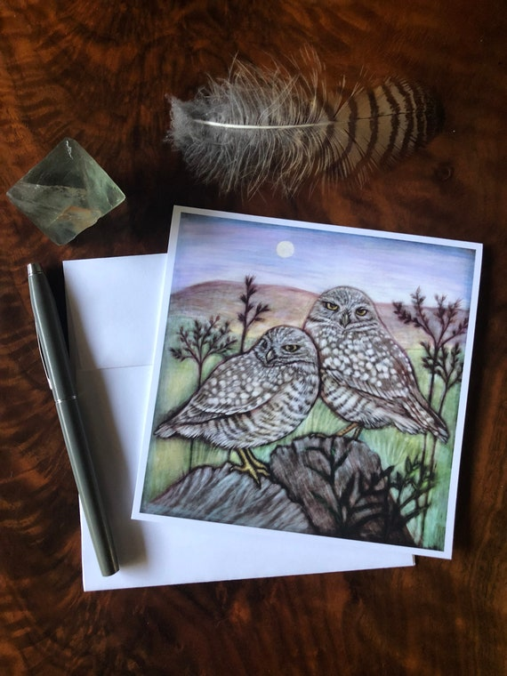 Burrowing Owls Square Greeting Card