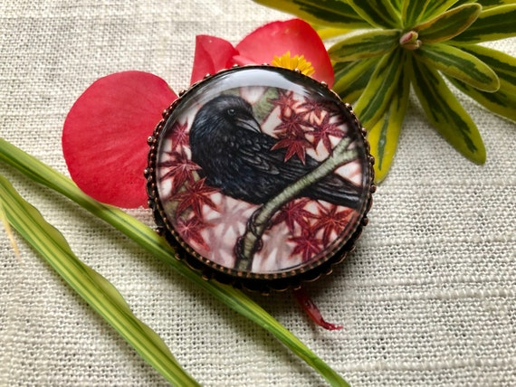 Raven Crow Blackbird jewelry for women/Crow Brooch Pendant for her/Crow jewelry gift/Crow and Japanese Maple