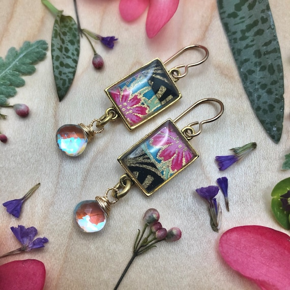 Colorful Earrings/Colorful boho Lux Origami Paper and Resin Earrings with rainbow mystic quartz dangles/Art Deco flower earrings