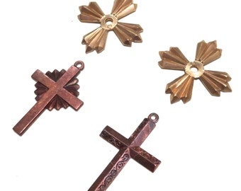Brass and Copper Cross Crucifix Charms Stampings with Loop 31mm 4 pieces