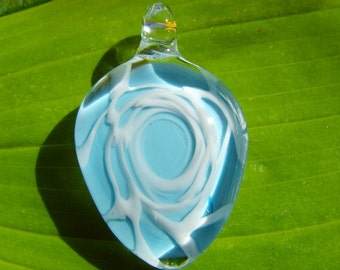 SALE  Blown Glass Blue and White Abstract Pendant, Your Choice of Black Satin Cord or Cotton Cord