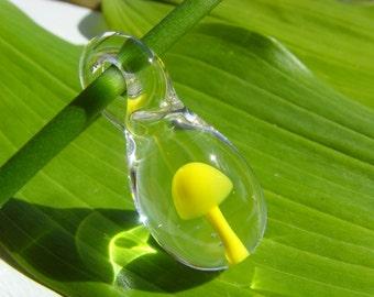 Small Blown Glass Yellow Mushroom Pendant, Whimsical, Unique Keepsake Gift, Nature Lovers Jewelry, Mushroom Hunter Necklace, OAK Jewellery