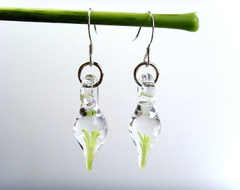 Tiny Flameworked Glass Earrings, Hand Made Glass Earrings, Light Green Yellow, Unique Gift