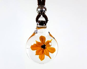 Small Flameworked Glass Flower Pendant, Dark Yellow, Glass Flower Necklace, Unique Keepsake Gift, Soft Vegan Suede, Handmade, 100% Glass