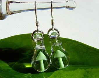 Tiny Blown Glass Green Mushroom Earrings on Sterling Silver