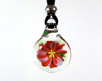 Small Flameworked Glass Flower Pendant, Coral and Pink Flower, Glass Flower Necklace, Unique Keepsake Gift, Soft Vegan Suede