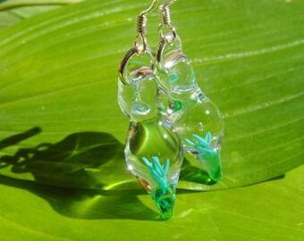 Tiny Blown Glass Green Swirl Earrings on Sterling Silver