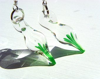 Tiny Blown Glass Green Sprigs Earrings on Sterling Silver