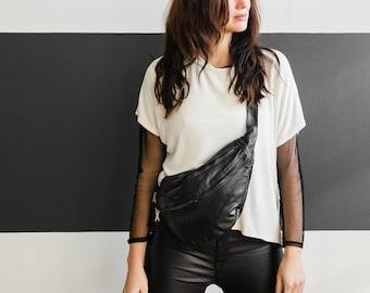 Modern Sling Bag Black, Extra Large Hip Bag Fanny Pack soft Black Leather, Large handbag for mom, Cool bag, Large Sling bag, Elegant Hip Bag