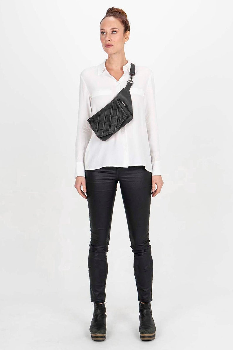 Leather Crossbody Bag in Black Leather Envelope Quilted Black Leather Fannypack Quilted Belt Bag in Black Leather Unique and Elegant