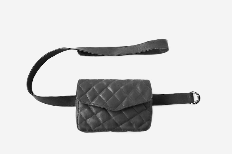 chain small leather purse quilted leather belt bag chic travel image 0