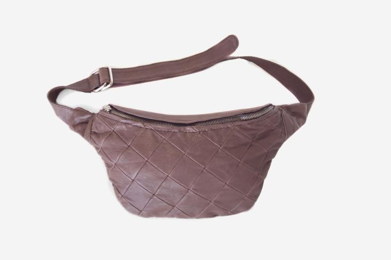 vintage brown leather waist bag quilted crossbody bag brown image 0