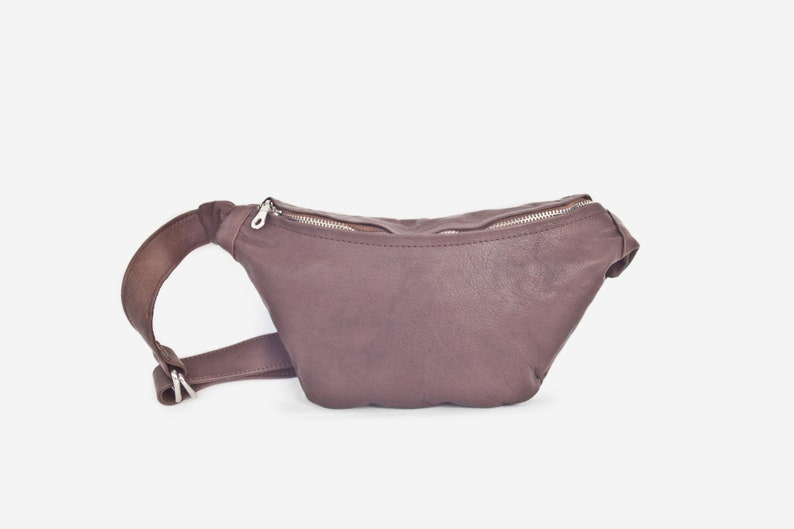 Soft leather small cross body purse Fanny pack brown leather image 0