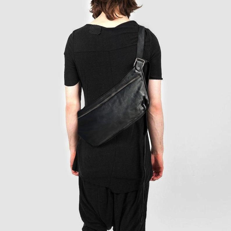 Body Pack Men Across Body Bag Black Leather Flat Shoulder image 0