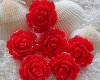 Resin Flower Cabochon - 20mm  - 12 or 24 pcs - Red
