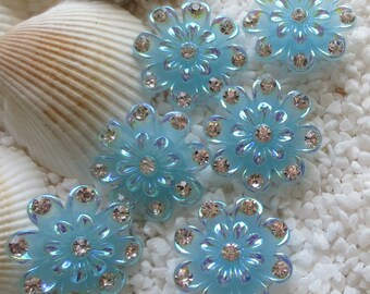 Resin Rhinestone Flower Cabochon - 20mm - 6 pcs - Blue
