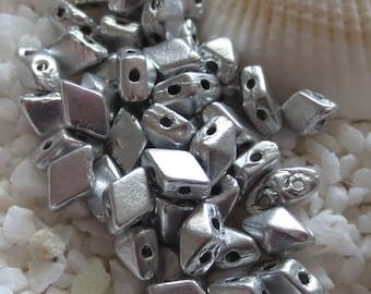 DiamondDuo Mini - 4mm x 6mm - Matte Silver - 50 pcs