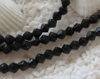 Faceted Bicone Glass Beads - 4mm - 200 pcs - Black