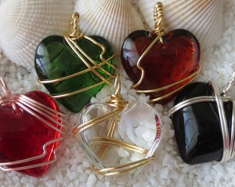 Handmade Wire Wrap Glass Heart Pendant -24mm - Choice of Color - 1 pc