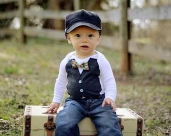 Baby Boy Easter Outfit Vest Bow Tie Dress Up Onesie Toddler Birthday Photo Prop Autumn Sibling Outfits