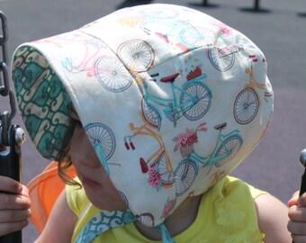 Baby Bonnet, Girls Sun Hat, Summer Sun Hat, Reversible Baby / Toddler Beach Hat, Flower Bike