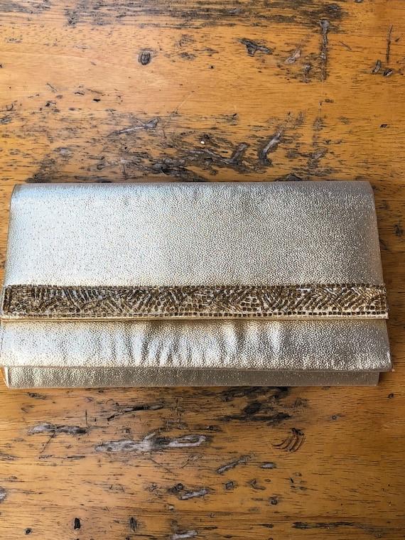 Gold Lame Beaded Evening Bag