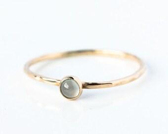 Aquamarine & 14k gold stacking ring, March birthstone, birthstone jewellery, aquamarine ring gold, delicate, minimal, pastel blue, ocean