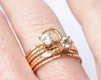 Morganite 14k Gold Ring, engagement, yellow gold, alternative, bridal, stacking ring, blush pink, solitaire gemstone, wedding