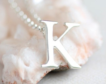 Sterling silver initial necklace, personalized jewelry, gift for her, gift under 100, personalised, typography, monogram, bridesmaid gift