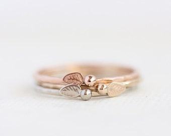 Gold leaf ring stacking set, rose gold, yellow gold, white gold, delicate, solid 14k gold, eco friendly, woodland, organic, nature