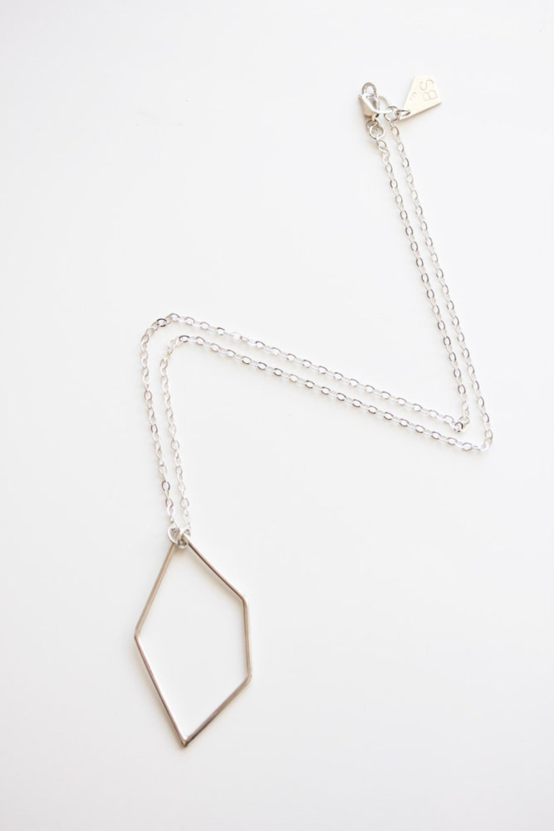 Geometric necklace sterling silver modern minimal jewelry image 0