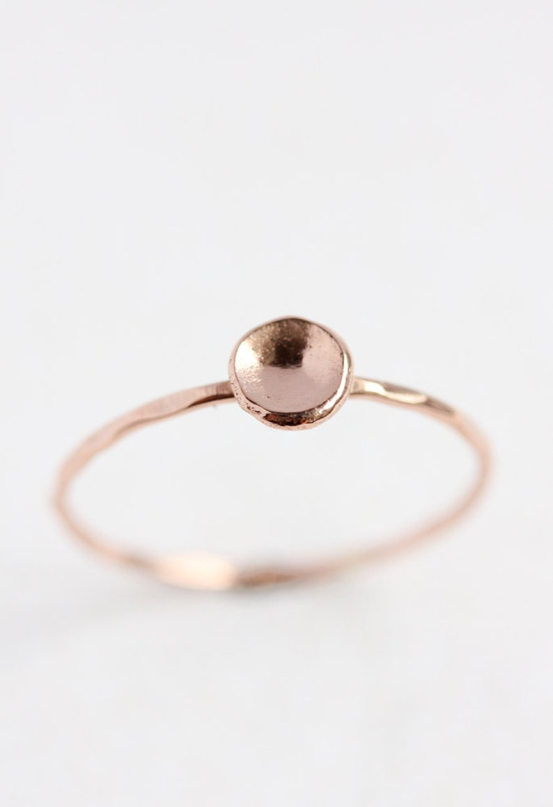 stacking ring thin gold band solid gold band solid gold ring organic pebble ring 14k rose gold ring stack ring recycled eco friendly