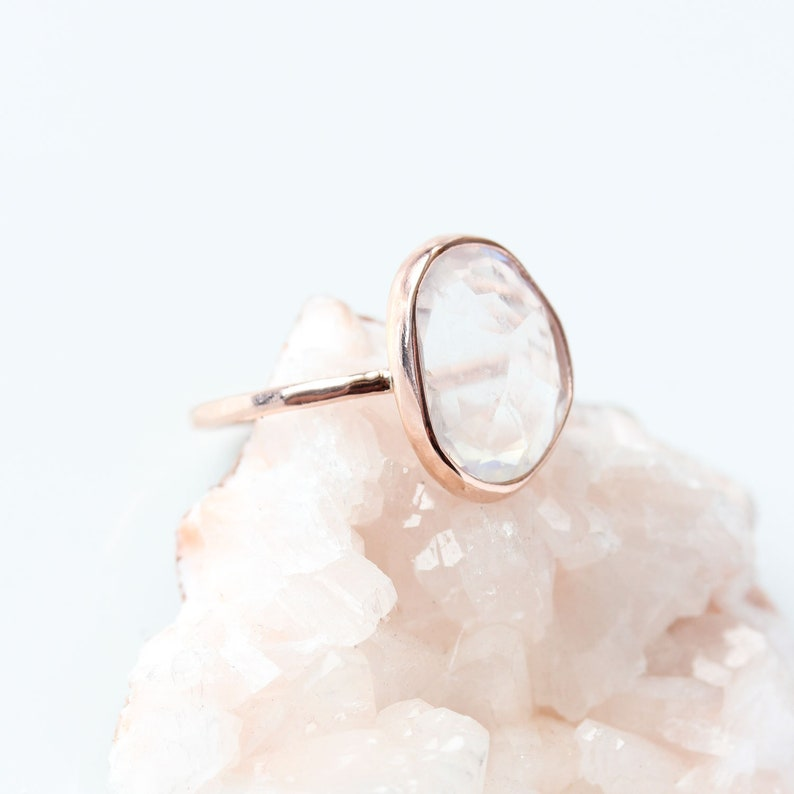 solitaire moonstone jewelry Rainbow moonstone /& 14k gold ring rose gold moonstone engagement ring rose cut june birthstone wedding