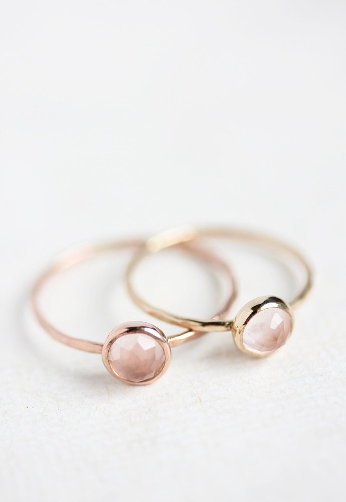 Rose quartz rose gold ring, Valentines Day gift, 14k gold, rose cut, pastel  pink, delicate gold ring, gift for her, mothers day, stack ring
