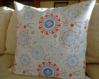 grey and red  pillow cover