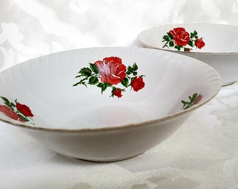 Two Small Bowls Red Roses Lucky Fine China Indonesia