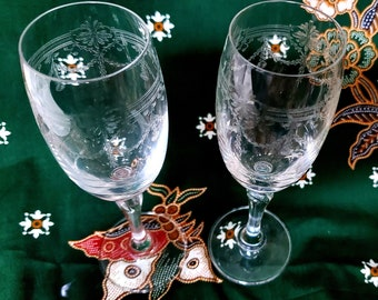 Pair of Vintage Small Champagne Flutes Wedding Anniversary Toast Cheers Celebrate