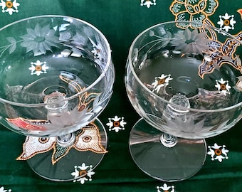Pair of Vintage Floral Coupe Champagne Marie Antoinette Wedding Anniversary Toast Cheers Ergonomic Stem