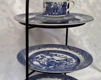 Three Plates Afternoon Tea Tiers - Bonus Free Matching Tea Cup with Saucer