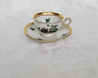 Vintage Expresso Glass Green Gold White German Marked Numbered