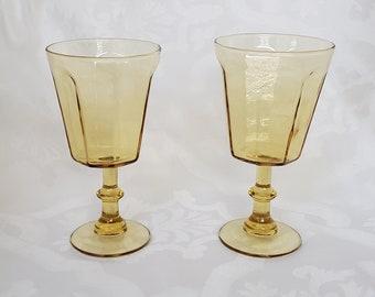 Pair of Vintage Retro Parisian Yellow Wine Glasses Unique  Classic French Design