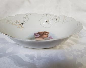 Lovely Vintage Bowl Female Portrait  Lilacs Flowers