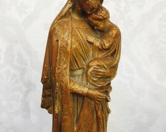 Antique Ancient Madonna and Child Sedes Sapientiae Mary Statue Rare 1800s Lovely Old Soulful Rare Treasure