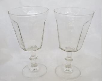 Pair of Vintage Retro Parisian Wine Glasses Unique  Classic French Design