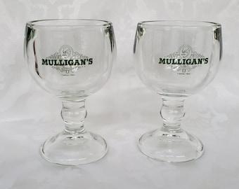 Pair of Original Mulligans Canton Ohio Sturdy Cocktail Beer Margarita Glasses Wedding Anniversary Toast Cheers Fun Vintage Green Mardi Gras