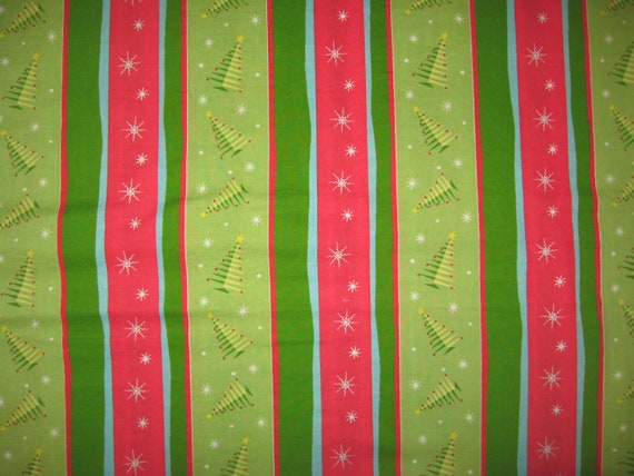 1 yard Springs Red and Green Snowflakes  Fabric