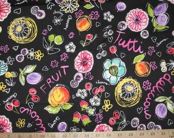 Fruit print black twill fabric 1 yard