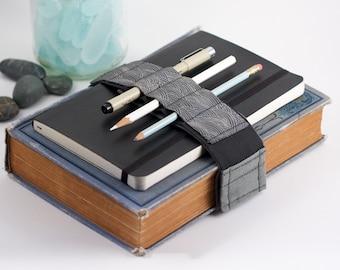 Adjustable Bandolier // Grey Waves // (a better pencil case, journal pen holder, book strap, pen loop, pencil roll, pen bandolier)