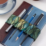 Journal Bandolier // green waves // (a better pencil case, journal pen holder, book strap, pen loop, pencil roll, pen bandolier)