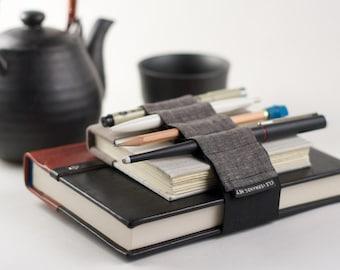 Adjustable Bandolier // dark linen // (a better pencil case, journal pen holder, book strap, pen loop, pencil roll, pen bandolier)